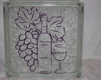 Wine DIY decal for glass block