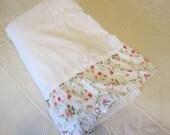 Floral Twin Flat Sheet, Ruffled Trim in Pink