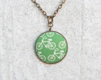 Green Bikes, Fabric Button Pendant Necklace