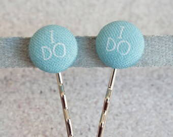 I Do, Fabric Covered Button Bobby Pin Pair