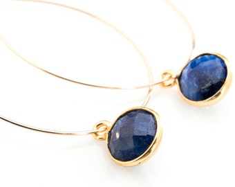 Gold Filled Hoops with Bezel Stone Drops in  Blue Lapis - EG02SMALL