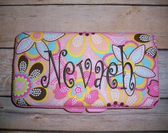 Personalized Travel Baby Wipe Case - Michael Miller Pink Brown Aqua Flowers