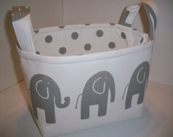 Small Diaper Caddy / Organizer Bin / Fabric Basket - White Grey Elephants Polka dots- Personalization Available
