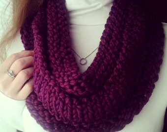 Hand Knit Infinity Cowl Scarf in Beautiful Plum