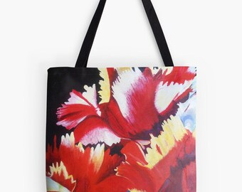 """Abstract Parrot Tulip Tote Bag - Artist's Mixed Media Painting Design. Two Sizes Available Medium 16"""" and Large 18"""""""