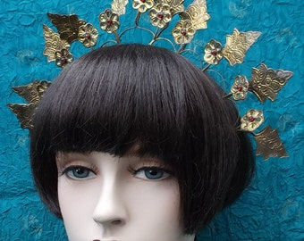 Vintage tiara crown Indonesian Sumatra headdress trembler flowers belly dance tribal fusion hair accessory hair jewelry hair ornament (AAO)