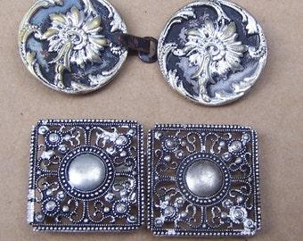 Two Art Nouveau belt buckle dress buckle sash buckle Victorian buckle Edwardian buckle antiqued silver tone (AK)