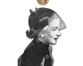 Vintage Digital Pattern - Rhapsody Hat - Glamour Fashion Hat - PDF Instant Download - PrettyPatternsPlease