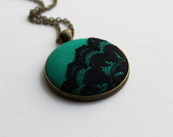 Emerald Green Necklace, Green Boho Jewelry, Green and Black Necklace, Fabric and Lace Pendant, Womens, Eclectic Jewelry, Bohemian Jewelry