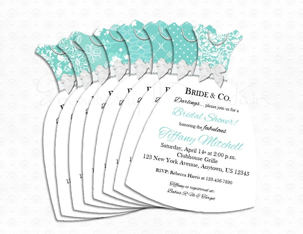 Bridal Shower Tiffany & Co. Inspired Dress Invitations- LACE-8 choices-Set of 25 with Envelopes ...
