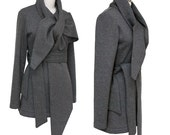 SALE - Statement Tie Wrap Sweater Scarf Jacket - High Quality Sweatshirt Fleece - Charcoal Gray