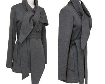 SALE - Statement Tie Wrap Sweater Scarf Jacket - High Quality Sweatshirt Fleece - Charcoal Gray