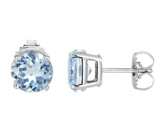 Platinum Aquamarine Stud Earrings 1.00 Carat HandMade Birthstone