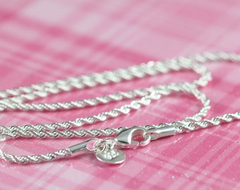 Rope Chain Necklace 925 Sterling Silver and Rhodium Plated , 2 mm Thickness , 18 20 22 24 inches