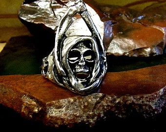 Grim Reaper Skull Ring Sterling Silver Free Domestic Shipping