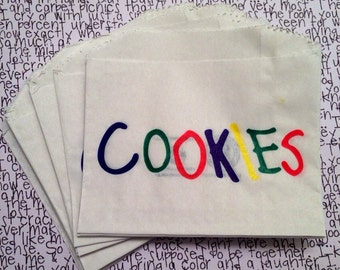 Cookies Printed Bags 10pcs (4 1/2 x 3 1/2 inches) // Recyclable and Biodegradable, Craft Supply, Packaging Supply, Party Supply