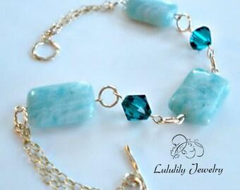 14kt Gold Bracelet, Emerald Swarovski Crystal, Green Bracelet, May Birthstone, Birthstone Bracelet, Amazonite Gemstone Bracelet
