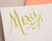 FOR JANINE**Merci! Letterpress Stationery set, Hand Lettered - 8 notecards + envelopes