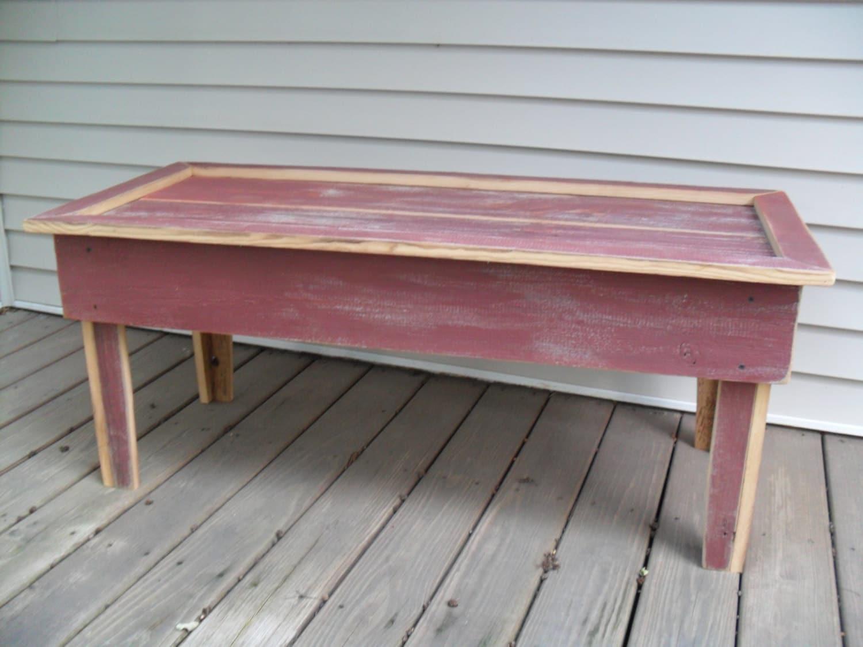 Rustic burgundy barn board coffee table by thefallbasket for Barn board coffee table