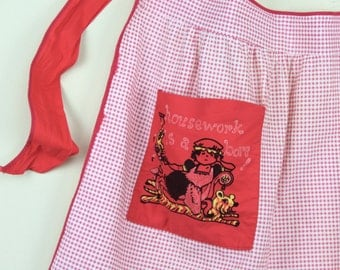 housework is a bore, funny vintage cotton Half Apron - kitchen linen - red + white gingham, french maid, novelty, silly - housewarming gift
