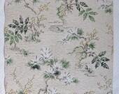 Vintage Wallpaper, Midcentury Leaves and Floral Print, 14 Yards