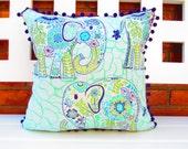 Room decor for teen girls, Bohemian pillow cover, Lucky Elephant Pillow, bohemian Bedding, boho room decor, light blue and purple elephant