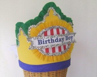 Boy Birthday party Hat, Boy birthday crown, yellow birthday hat, customize