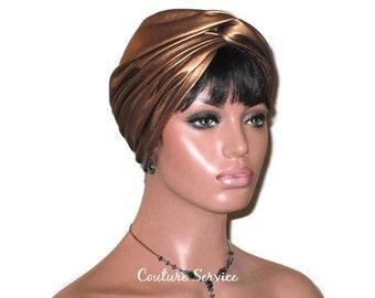 Bronze Turban, Leather Turban, Women's Handmade Fashion, Twist, Metallic Turban, Brown Turban, Hat, Solid Bronze Turban, Bronze Turbin