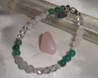 Libra Astrology- Zodiac Gemstone  Bracelet- Choose 6-8 mm Beads Aventurine,Rose Quartz,Clear Quartz and Rainbow Moonstone+FREE Crystal