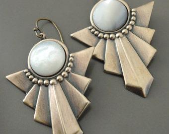 Vintage Earrings - Art Deco Earrings - Mother of Pearl Earrings - White Earrings - Vintage Brass Jewelry - handmade earrings