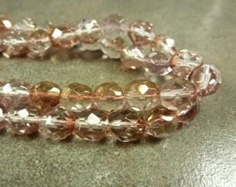 Peach Gold Half Lumi Czech Glass Firepolish Beads 8mm Faceted Glass 16pc