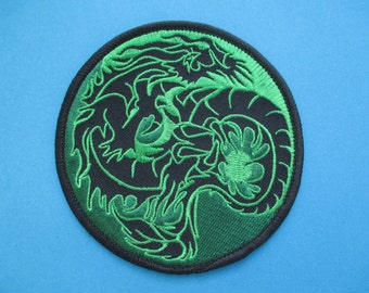Iron-on embroidered Patch Dragon in Art 4 inch
