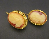 Cameo Carved Gold Plated Excellent Work Porcelain 30's France Earrings