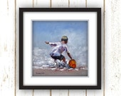 Fetch a Pail of Water Art Prints - Beach - Prints of young boy filling his pail - Linen Textured Photo Prints.