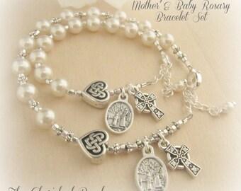 Beautiful Irish Catholic Godmother/Mother & Baby Baptism Rosary Bracelet Set