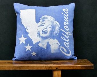 California Accent Pillow - Decorative Cotton Denim State Pillow - California Home Accessory