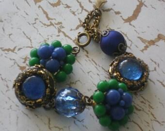 vintage earring assemblage bracelet~glam~romantic~hollywood gypsy