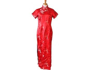 Vintage 60s Solz Squirrel Asian Full Length Red Rayon Dress - Women Small, Mandarin Collar