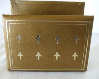 Gold Leather Letter Organizer - Fluer de Lis - Vintage - Mad Men Era - Mid Century - Hollywood Regency - Gifts - #283
