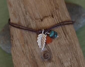 Thai Silver Carnelian Turquoise Waxed Cotton Cord Bracelet