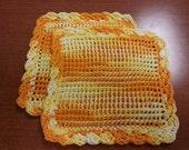 Orange/Yellow 100% cotton Dishcloths Set of 2