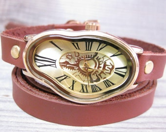 Gold Silver Ladies Watch Roman Numbers Design Salvador Dali Watch Leather wrap watch Wrist Watches Leather Watches Women's Watches