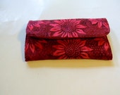 Red Sunflower Batik Clutch Wallet