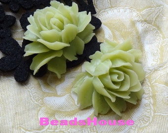 34-00-CA 2pcs Hight Quality Cabbage Rose Cabochon - Olive