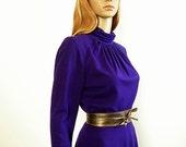 Vintage 1970s Dress Deep Purple Mock Turtle Knit Midi Dress / Small