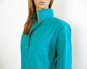 Vintage 1980s Blouse Bright Teal Turquoise Tone on Tone Floral Cotton Blouse Shirt / Large