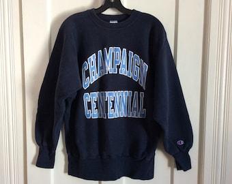 Vintage 1990s Champaign Centennial High School Champion Reverse Weave Sweatshirt size Large Dk Blue