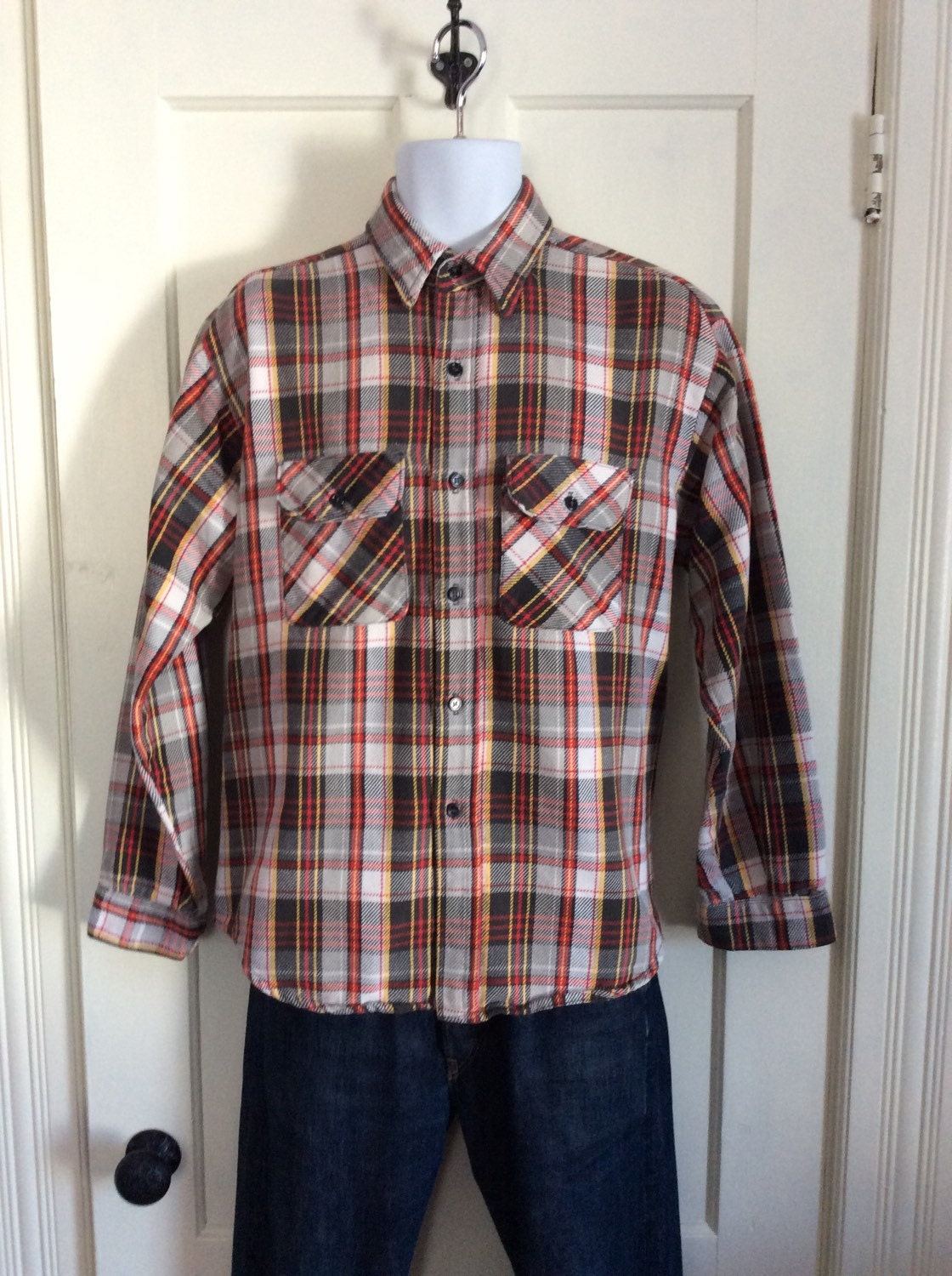 Vintage 1970 39 s 5 brother heavy flannel plaid mens shirt for Heavy plaid flannel shirt