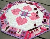 Sweet Treats 19 inch quilted octagon centerpiece with pink hearts