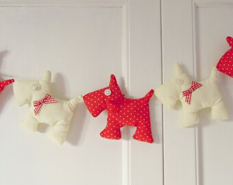 Scottie Dog Garland Red and Polka dots